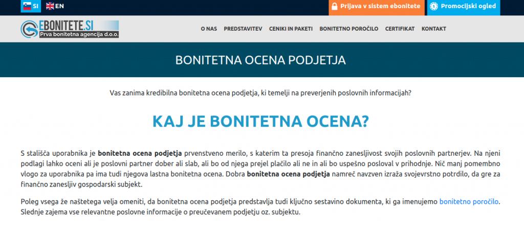 spletna vsebina aplikacija bonitete